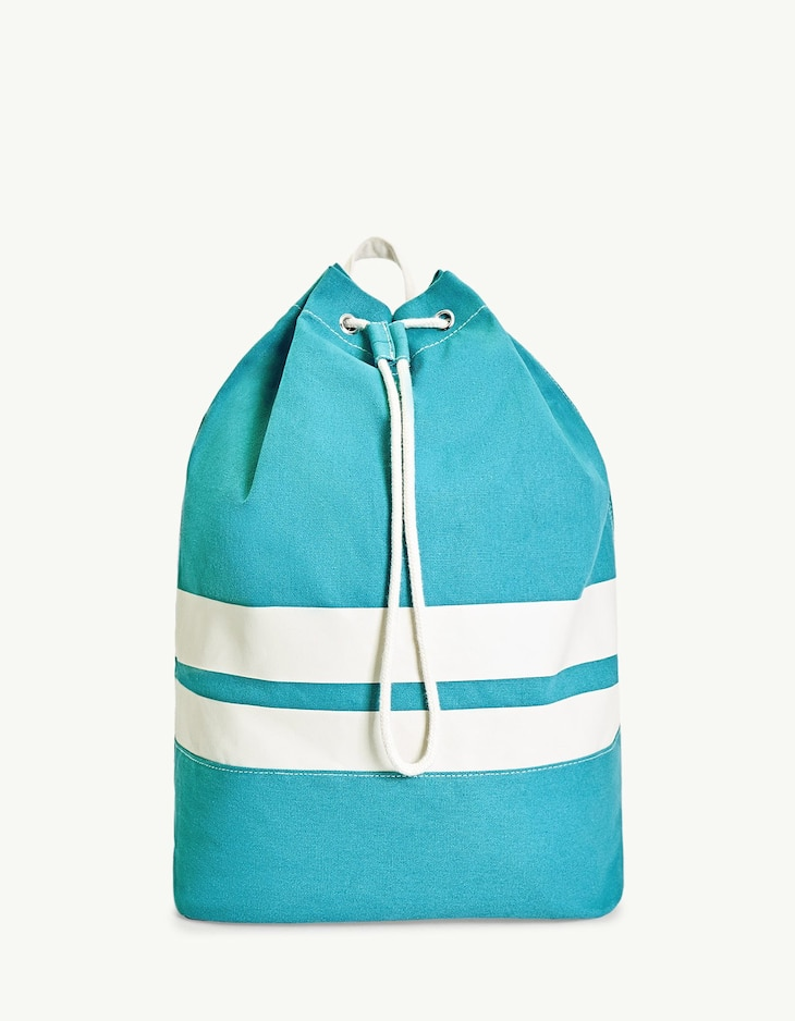 Nautical striped bucket backpack
