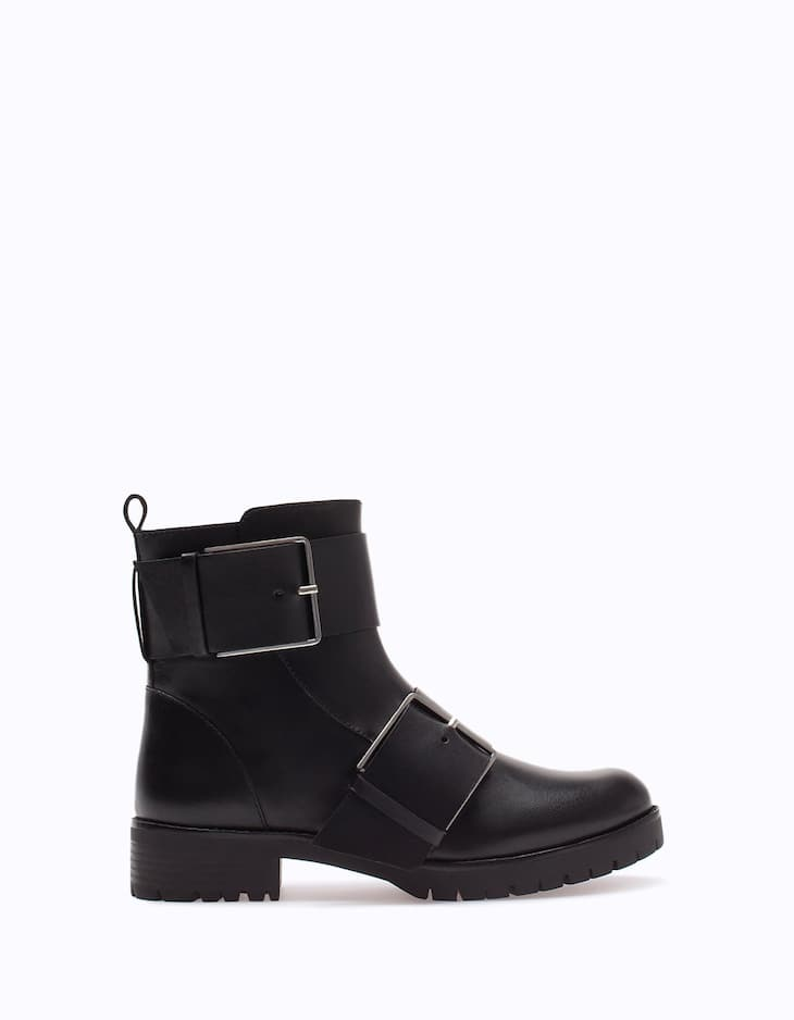 LEATHER biker ankle boots with buckle trim