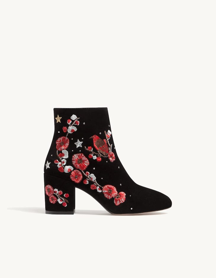 Embroidered LEATHER ankle boots