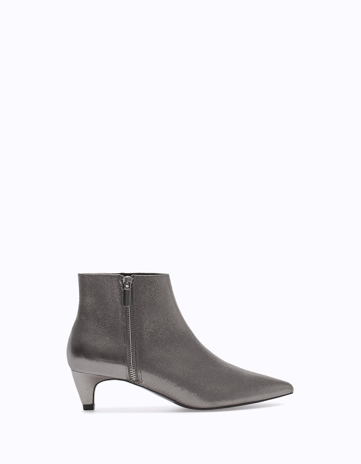 Metallised high heel ankle boots