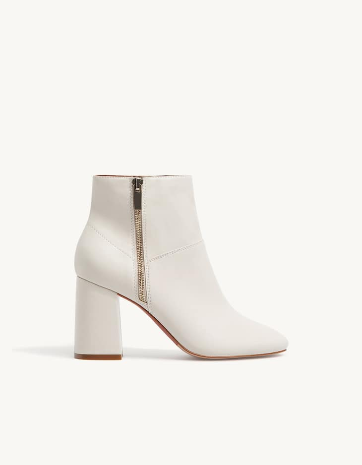 High heel ankle boots with zip detail