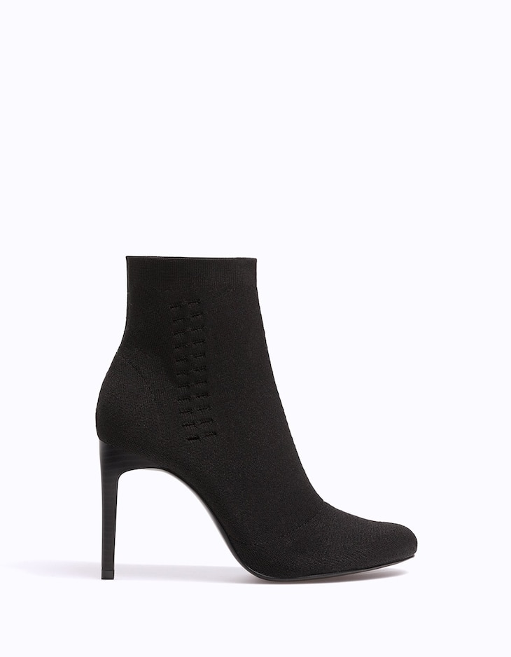 Narrow heel fabric ankle boots