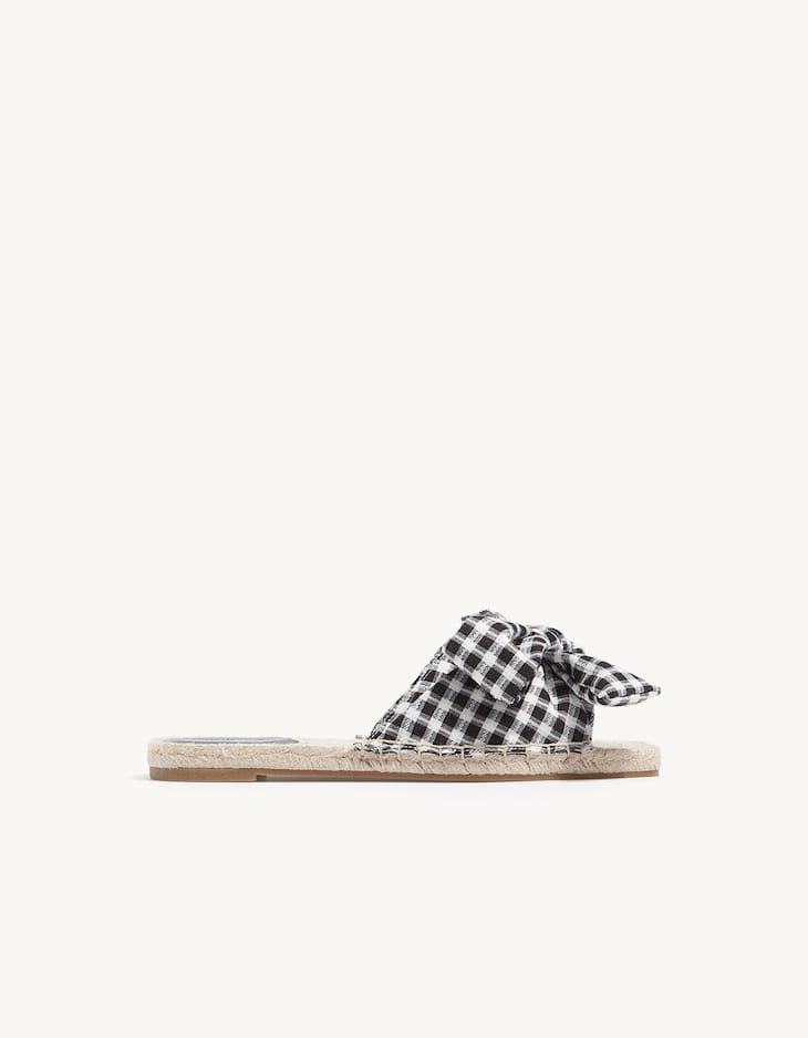 Jute gingham sandals with vamp tie trim