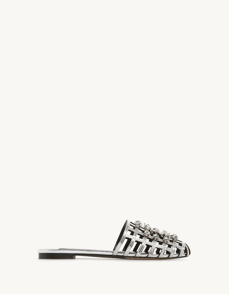 Jewelled mesh vamp sandals
