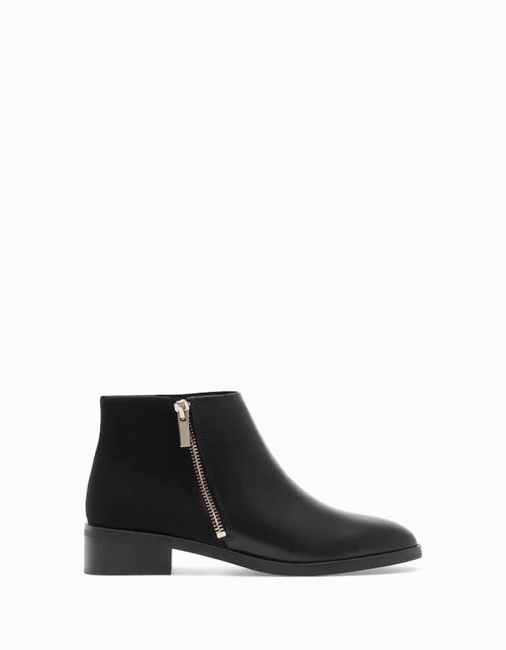 Combined ankle boots with zip detail