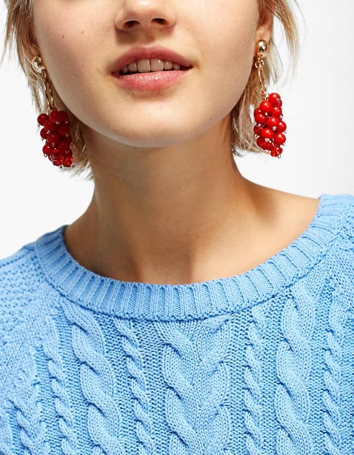Red grape earrings