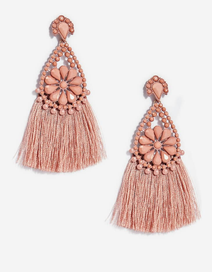 Tassel earrings with floral mould detail