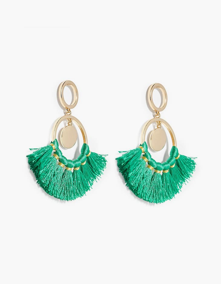 Tassel earrings with disc details