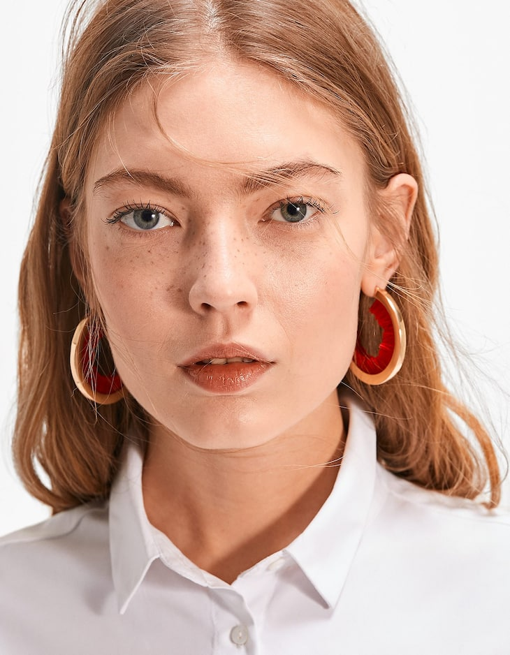 Hoop earrings with fabric fringing