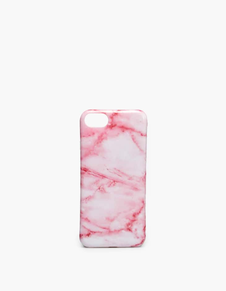 Pink marble-effect iPhone 6/7/8 mobile phone case