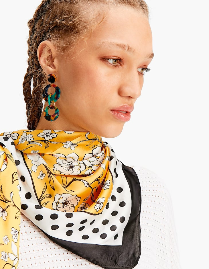 Yellow floral and polka dot scarf