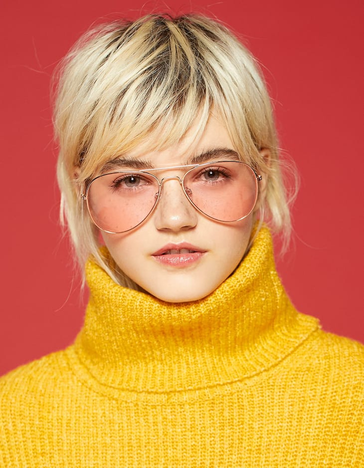 Pink lens aviator sunglasses
