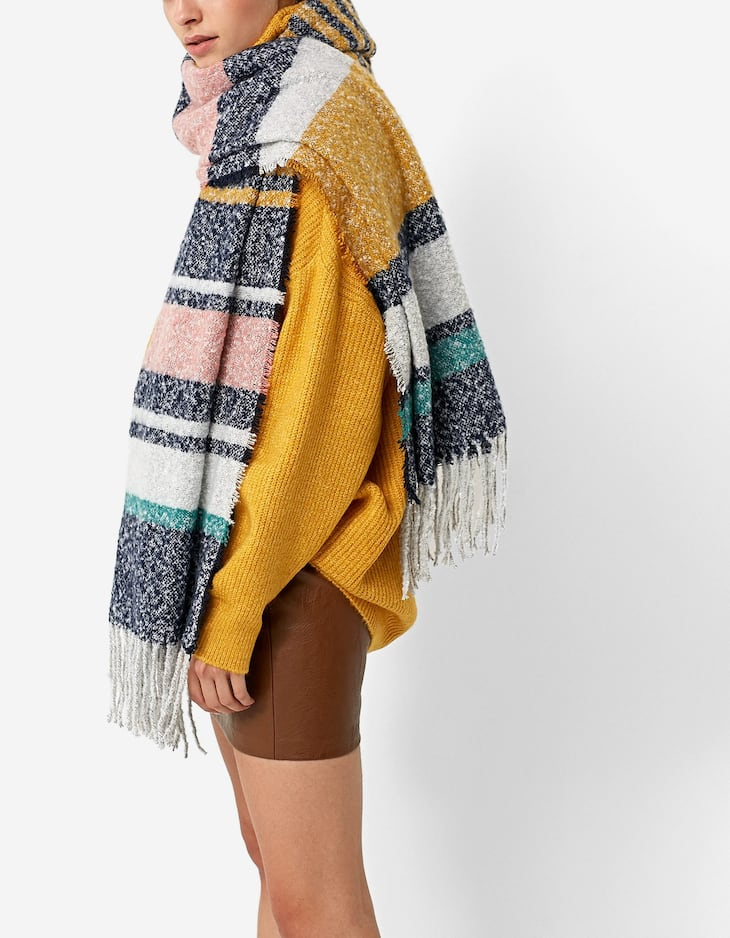 Multicoloured striped scarf