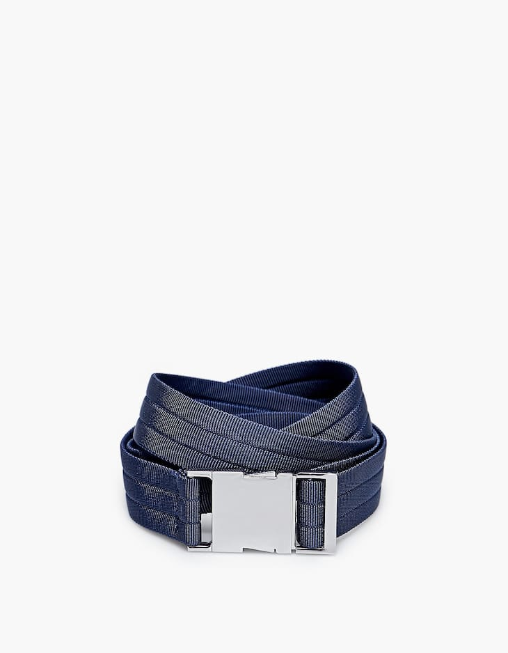 Belt with silver clip buckle