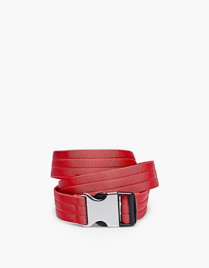 Belt with black and silver clip buckle