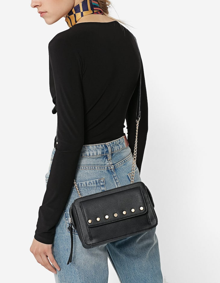 Mini crossbody bag with chain shoulder strap and studs
