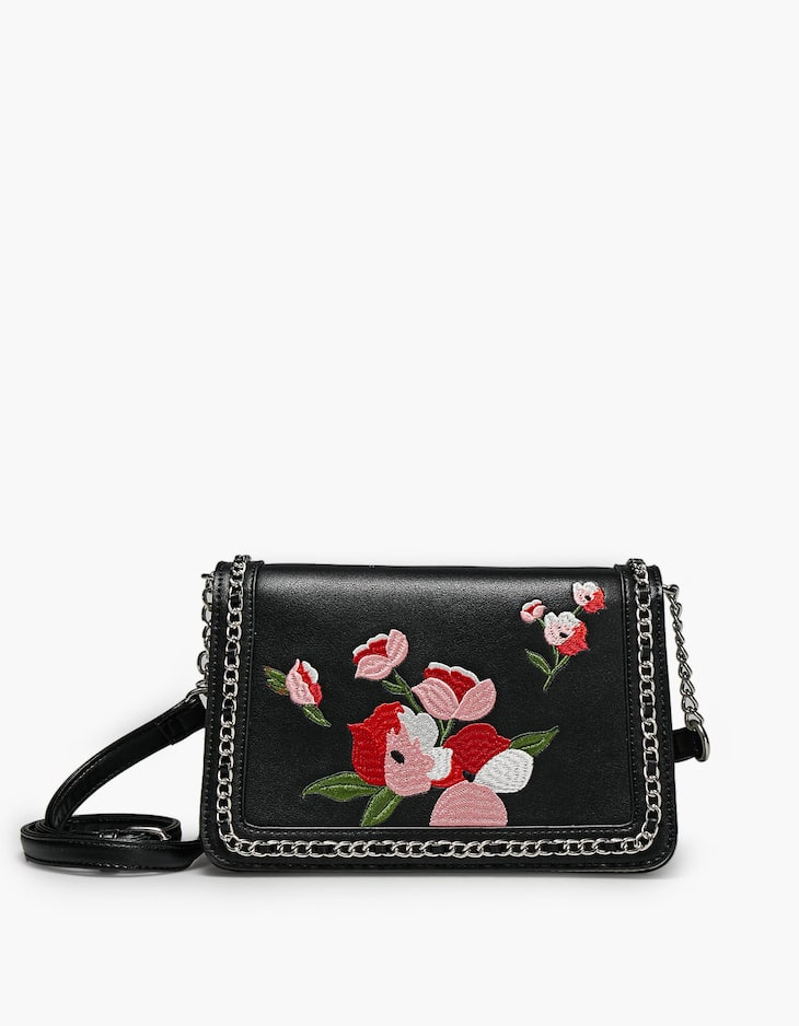 Embroidered crossbody bag with chain trim
