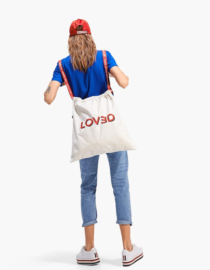 Canvas tote bag with slogan