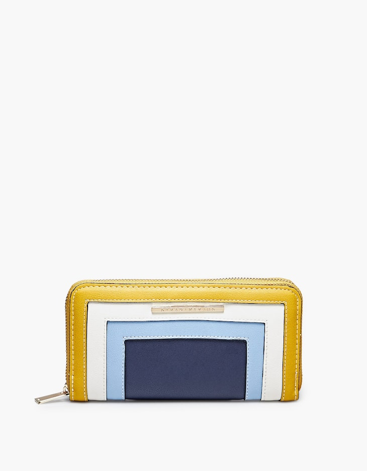Colour block purse with zip