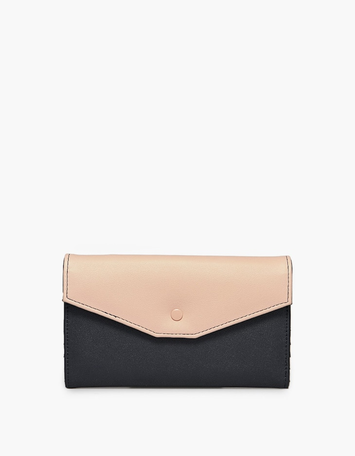 Colour block purse with front flap