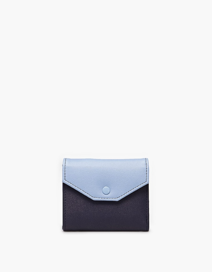 Colour block coin purse with front flap