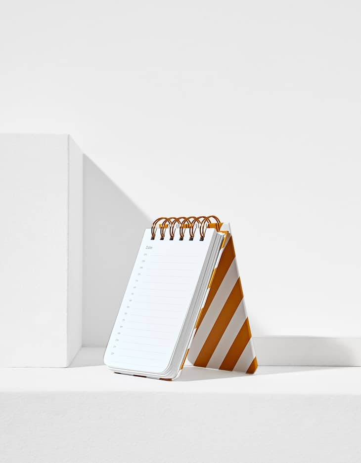 Mini planner with diagonal stripes