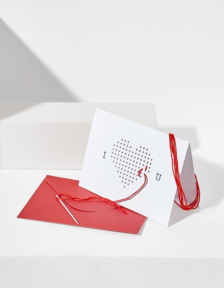 Threaded heart greeting card