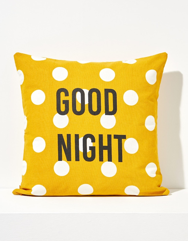 Double-sided 'good night' cushion cover