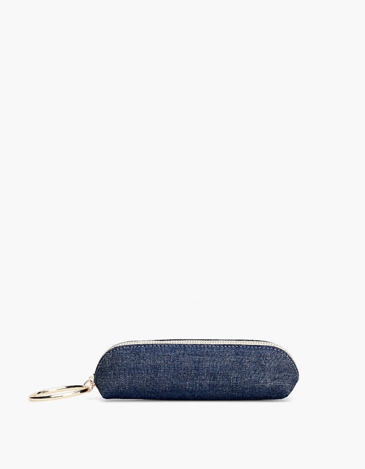 Denim pencil case with metal ring