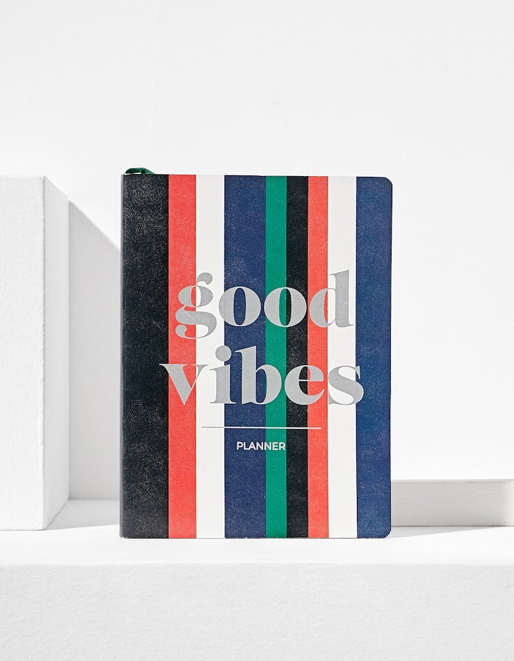 Striped colour block 'good vibes' planner