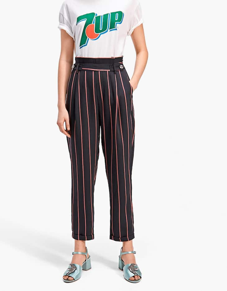 Striped paperbag trousers with buttons