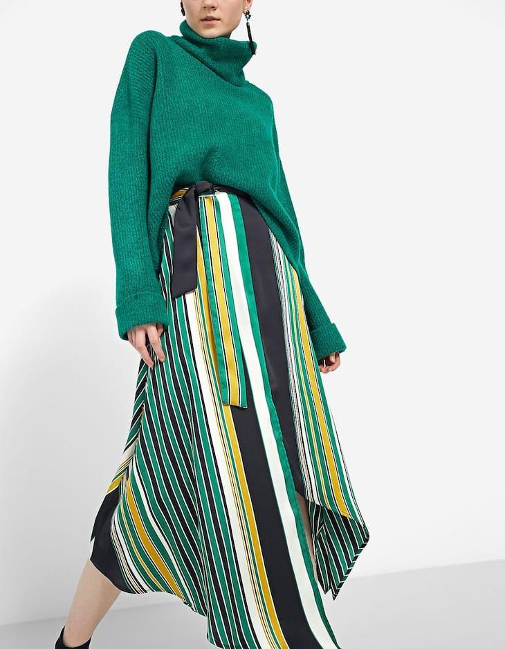 Разноцветная юбка асимметричного кроя