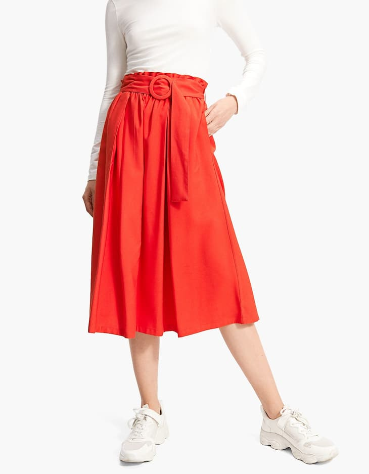 Flared midi skirt with belt