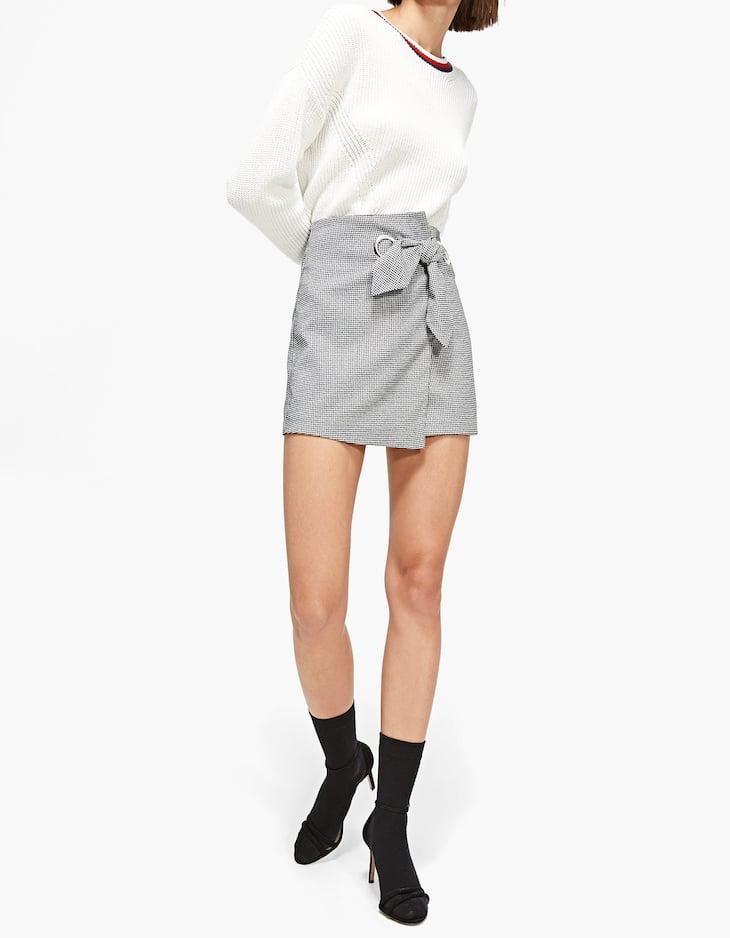 Жаккардовая юбка-шорты с бантом