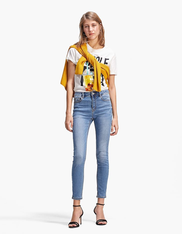 High Waist Jean With Worn Patching