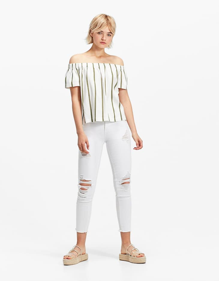 Skinny fit white twill trousers