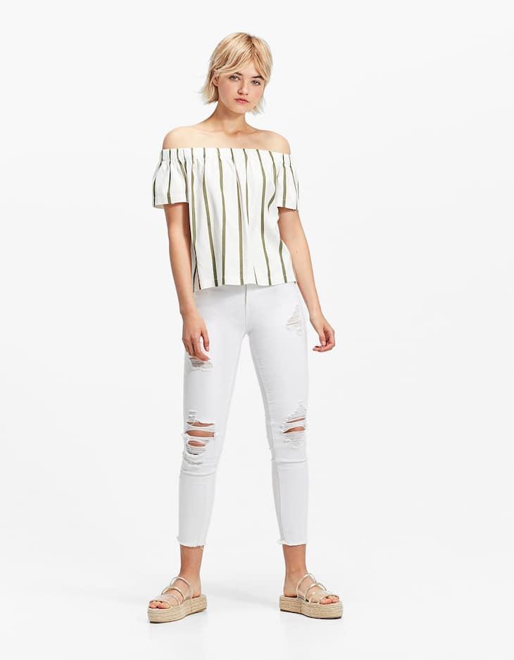 Pantalon skinny serge blanc