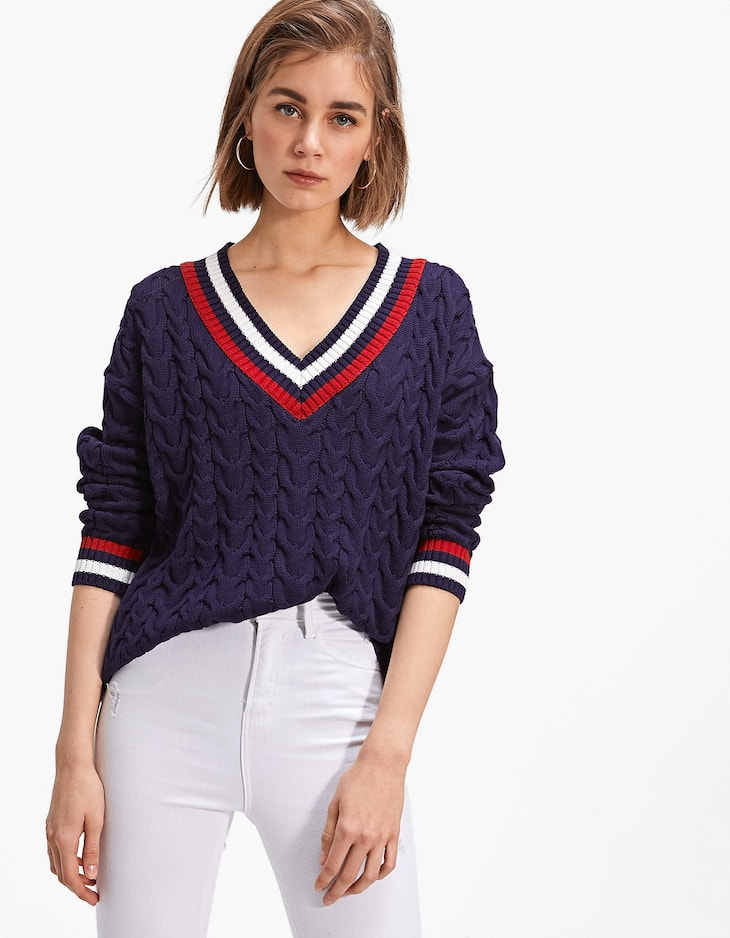Long cable-knit V-neck sweater