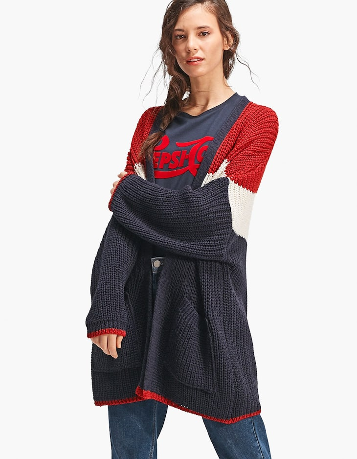Cardigan with V-shaped stripes