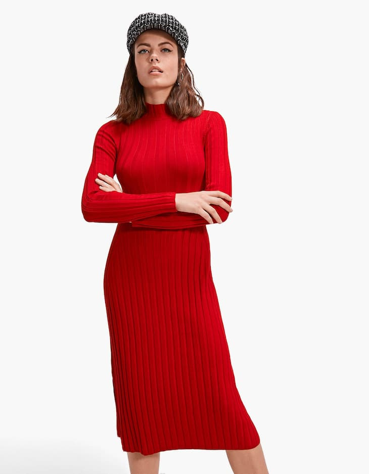 Ribbed high neck dress