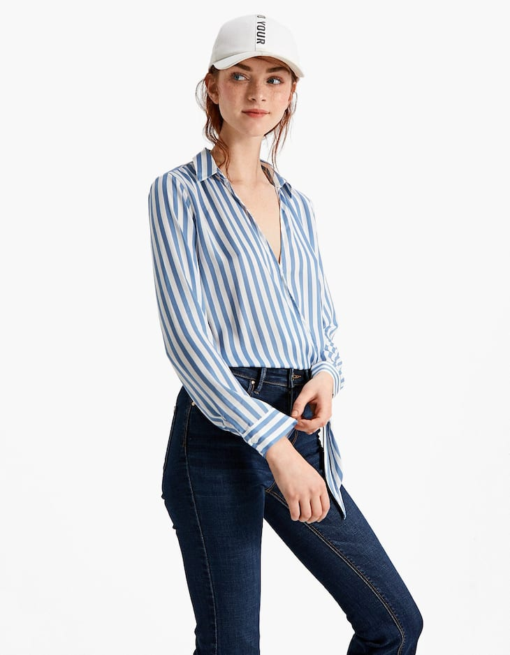 Crossover shirt with knot