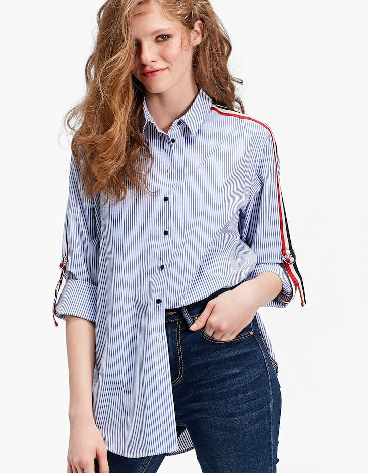 Oversized shirt with rib and adjustable sleeves