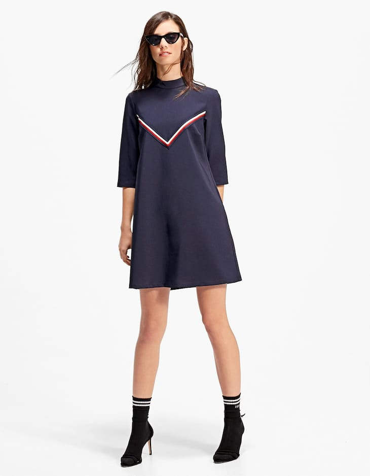 High neck dress with band detail