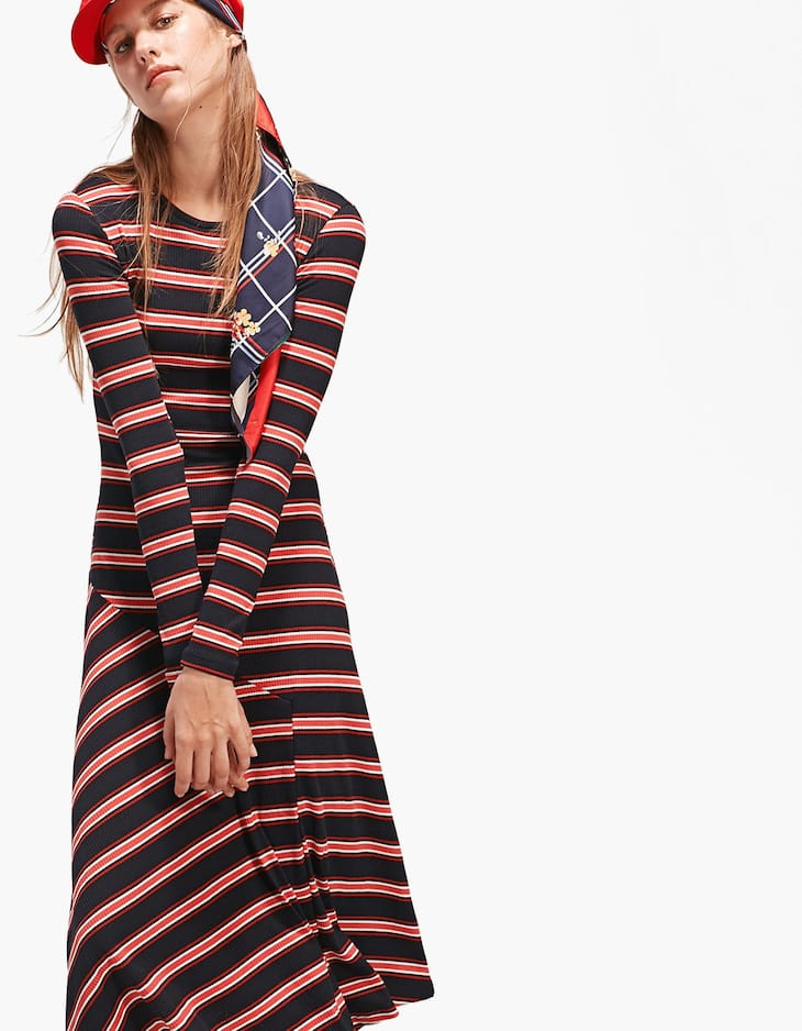 Ribbed dress with stripes and skirt seam details