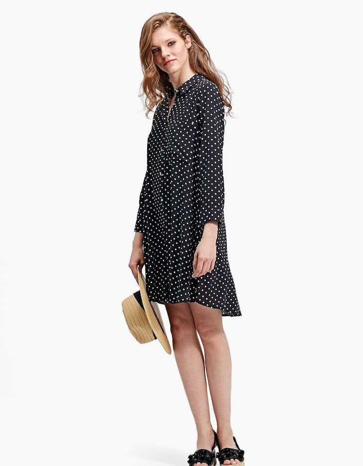 Printed shirt dress with 3/4 length sleeves