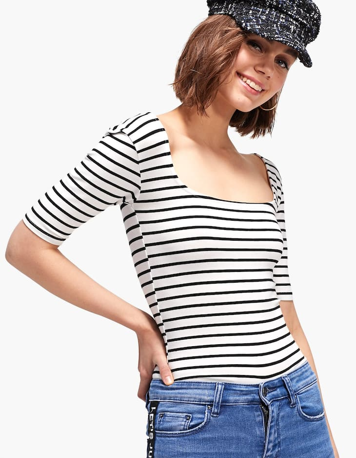 Striped ballet T-shirt with square neckline
