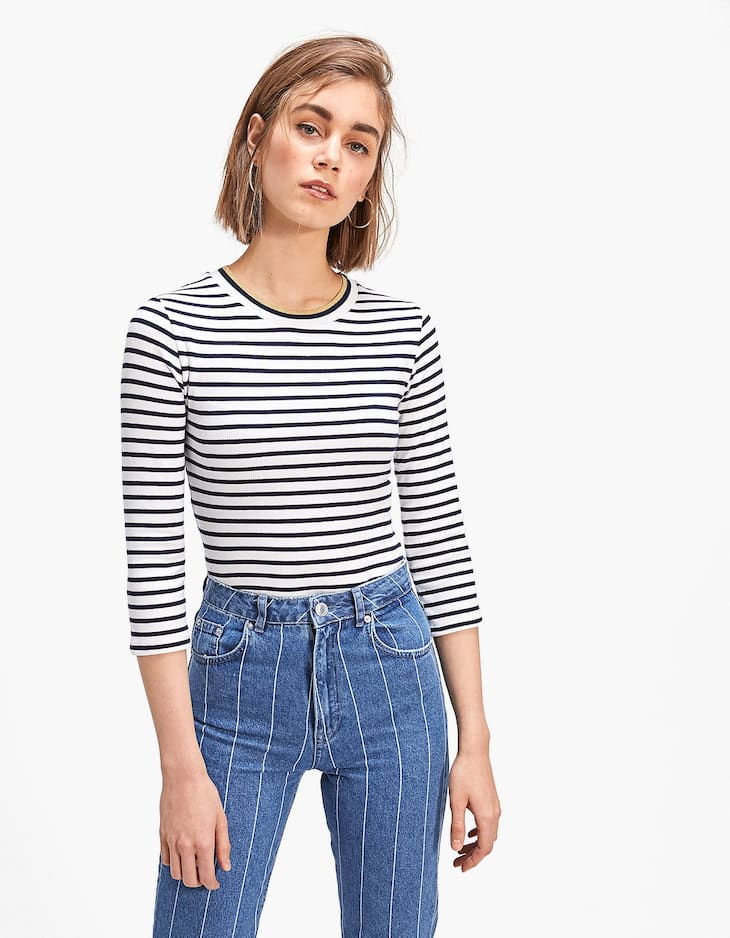 Striped T-shirt with contrasting trim on the neckline