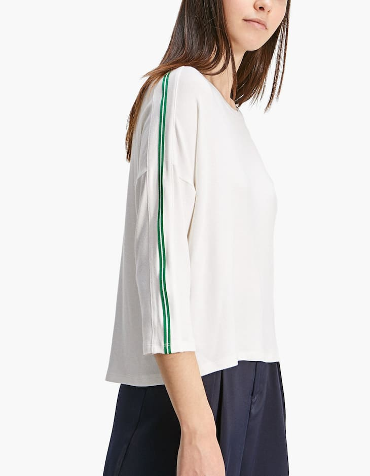 Long T-shirt with striped trim detail