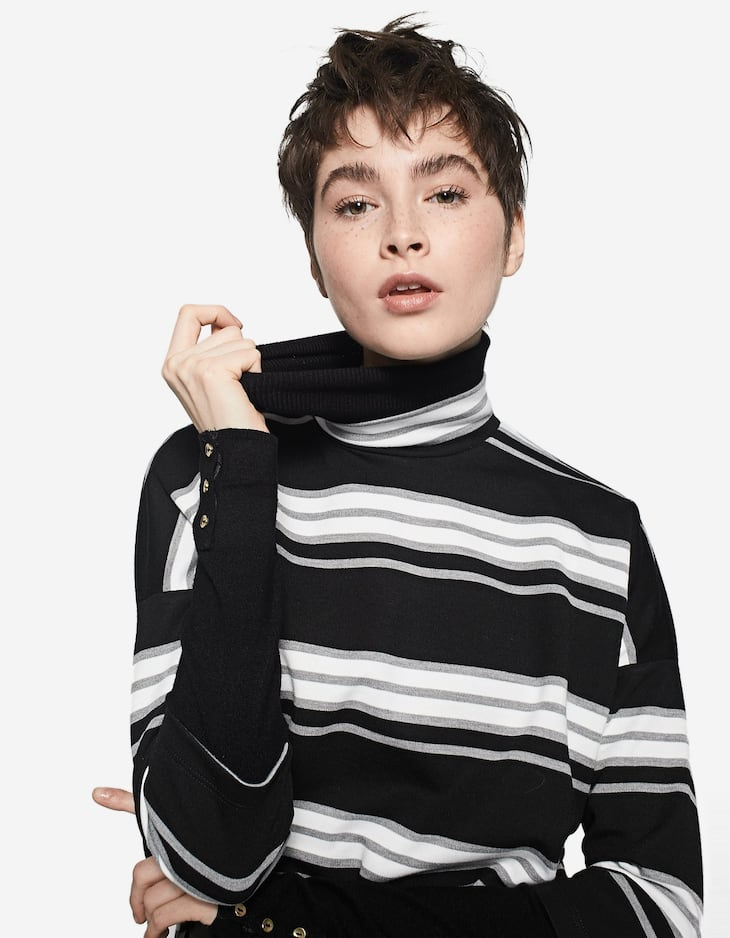 Oversized striped high neck T-shirt