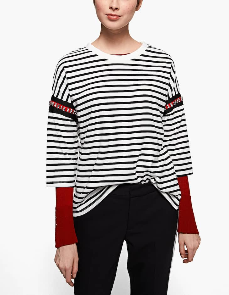 Striped T-shirt with gem details